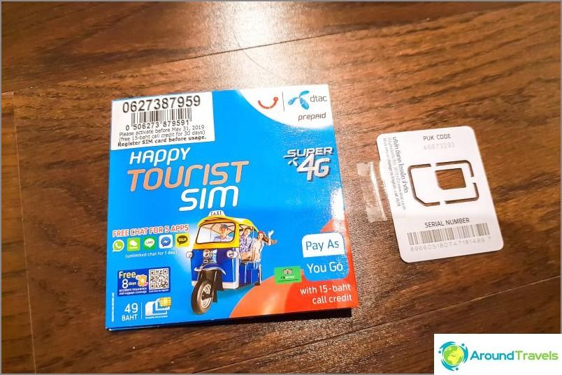 Плик и SIM карта DTAC от всички размери