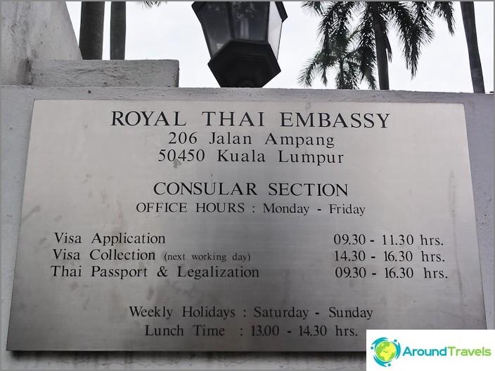 Thaimaan konsulaatin aukioloajat Malesiassa