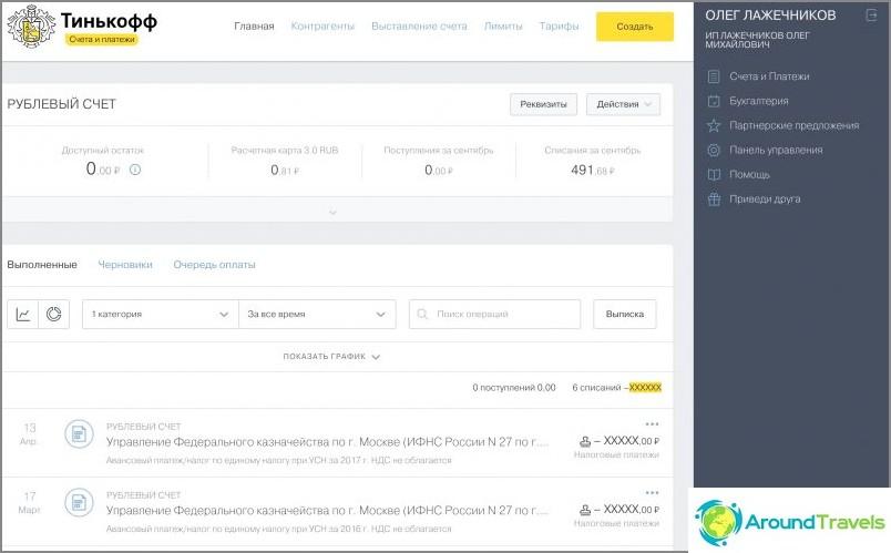 Internet-pankkitoiminta Tinkoff Businessissa