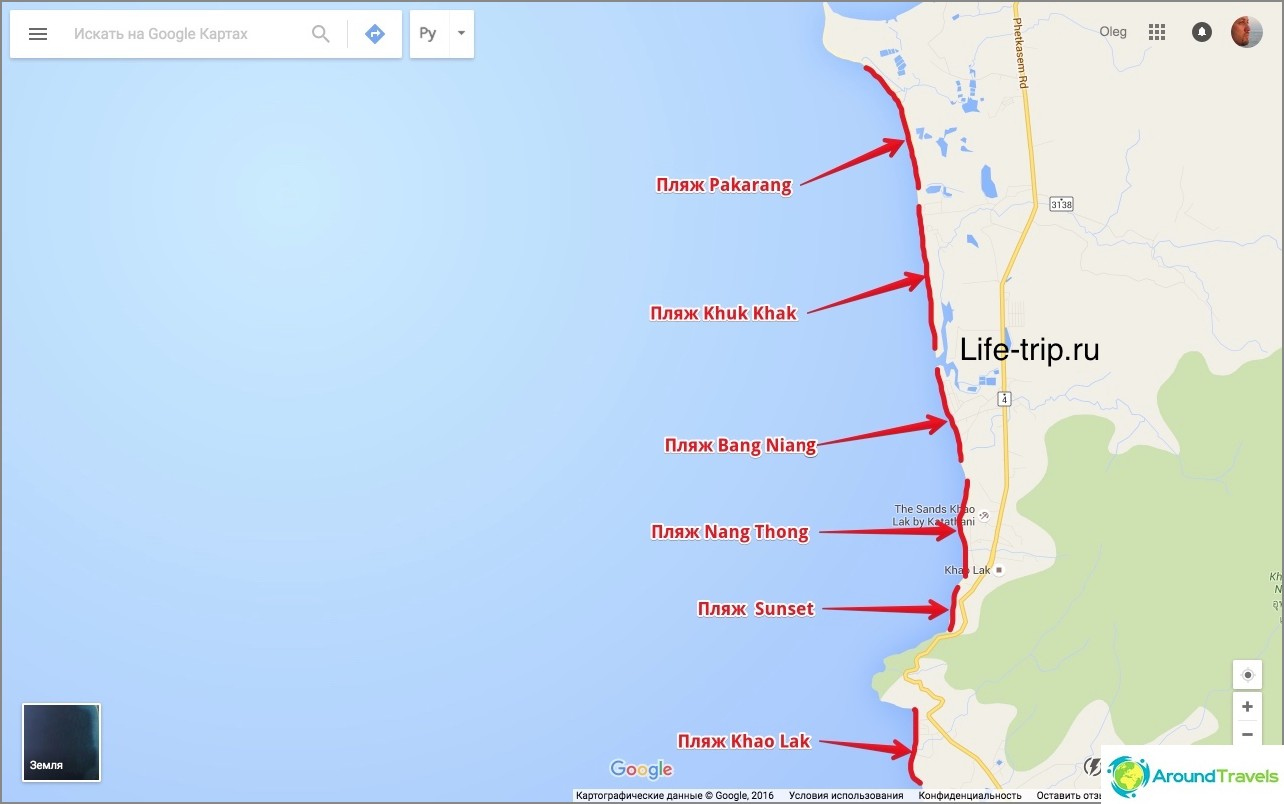 Карта на плажовете на Khao Lak