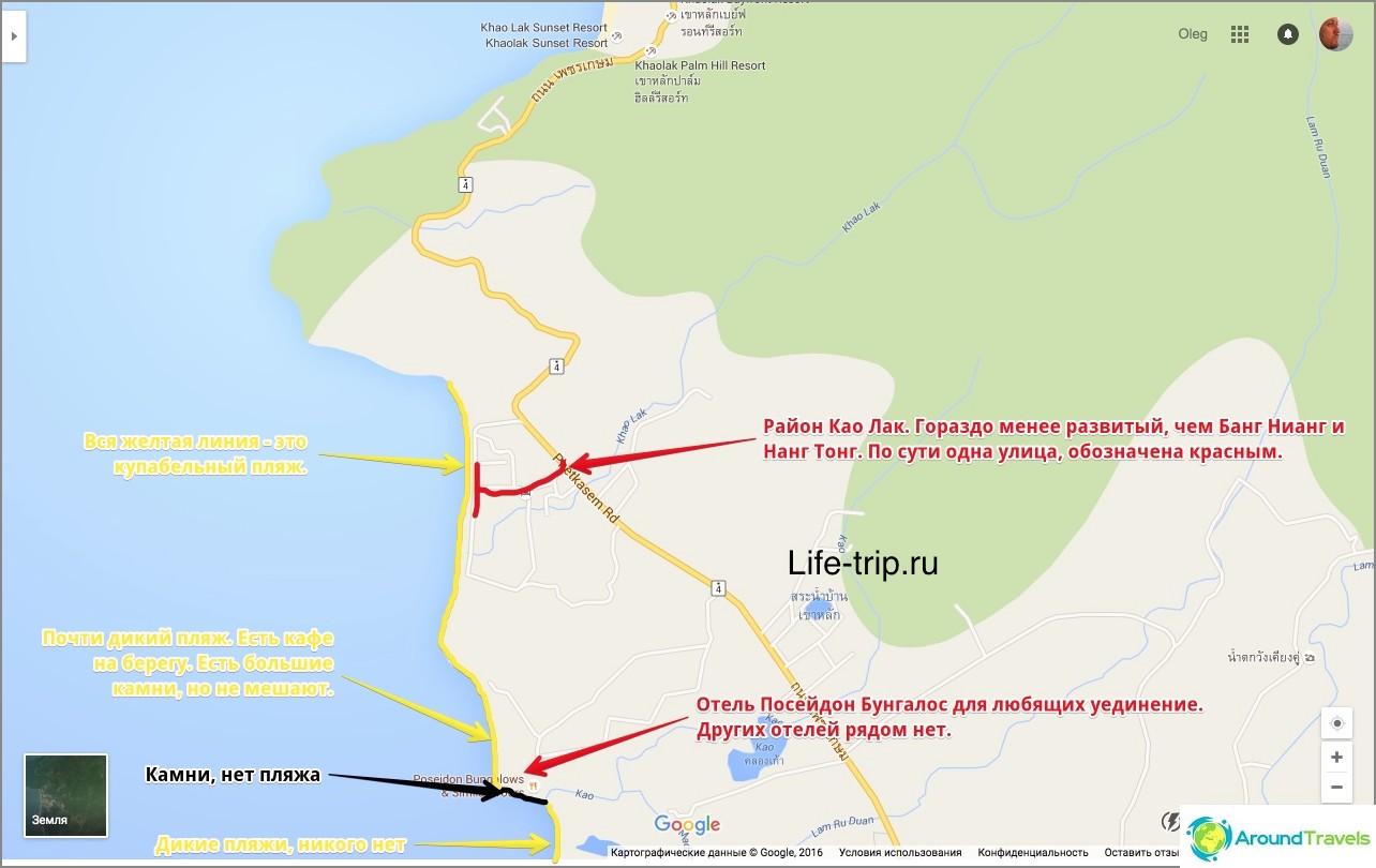 Карта на плажа Khao Lak