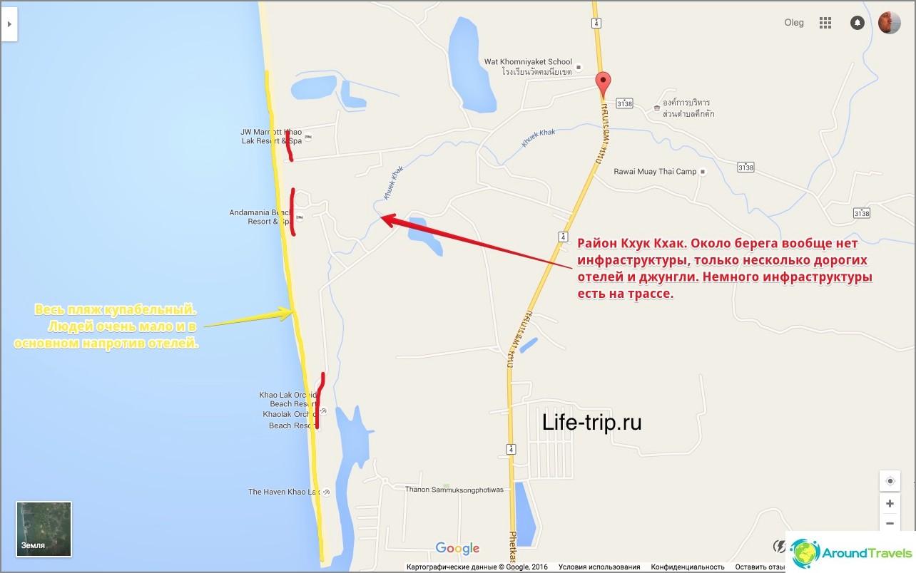 Карта на плажа Khuk Khak