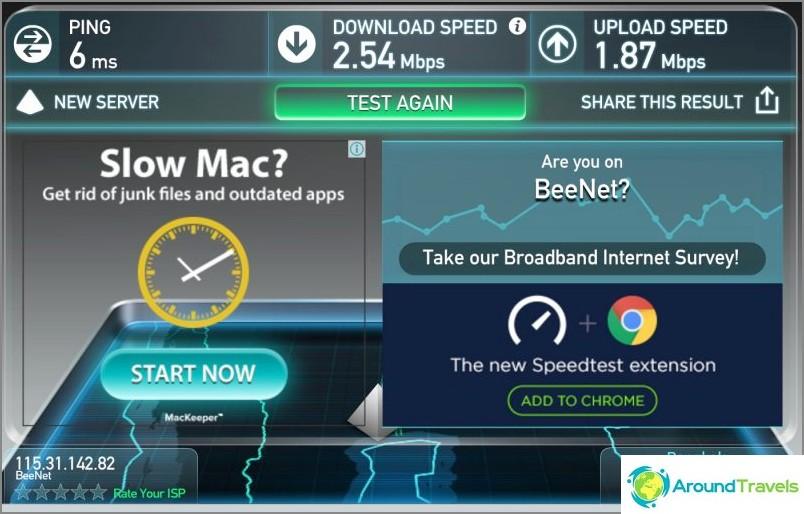 Скорост на Wifi в Lohas Residences
