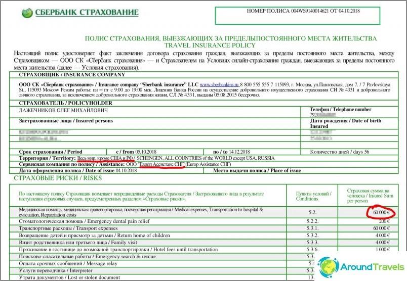 Моята полица Sberbank застраховка за 60 хиляди евро