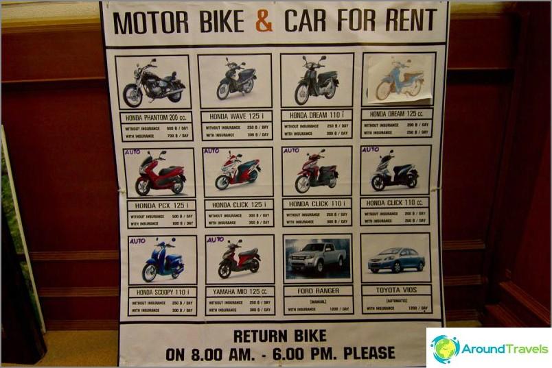Има мотори под наем, но тези плакати висят във всички съседни къщи за гости