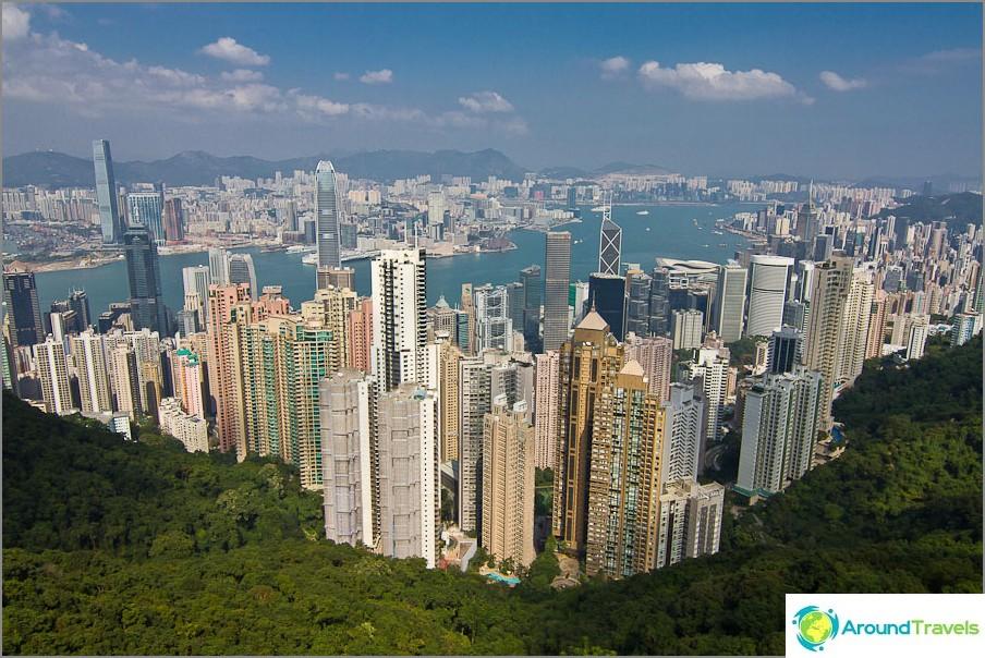 Изглед от връх Виктория към Хонконг