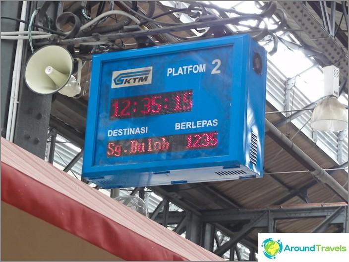 Табло с табло с времето на пристигане на най-близкия влак до гара KTM Komuter