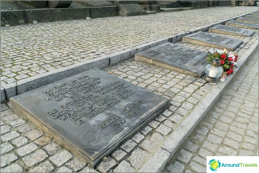 Muistomerkki kuolleiden muistoksi, levyt useilla kielillä