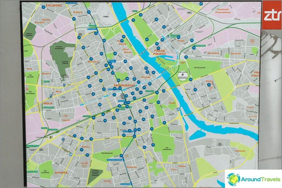 Kartta polkupyörän vuokrauspisteistä Varsovassa