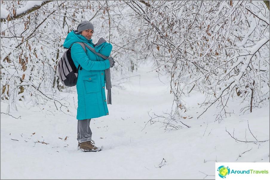 Talvella on mukavampaa kävellä metsässä ilman rattaita.
