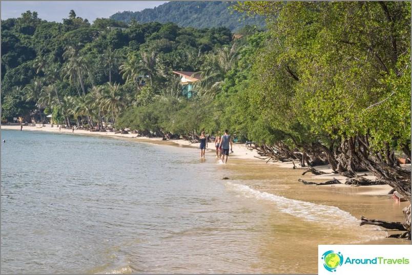 Vuorovesi. Huomaa - joissain paikoissa rantaa ei ole melkein.