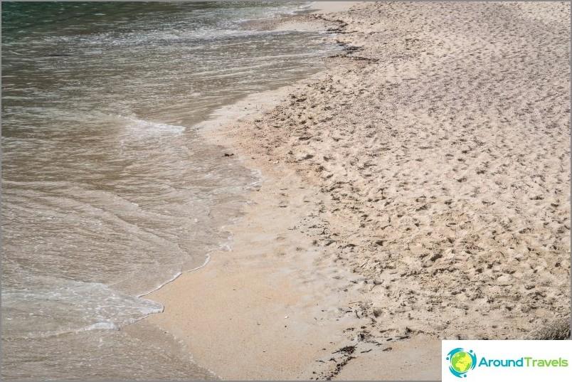 Мокър пясък - сиво-жълт, във вълните измити части от черупки