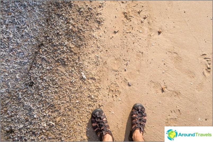 Siellä on vähän hiekkaa, ei ilman sitä