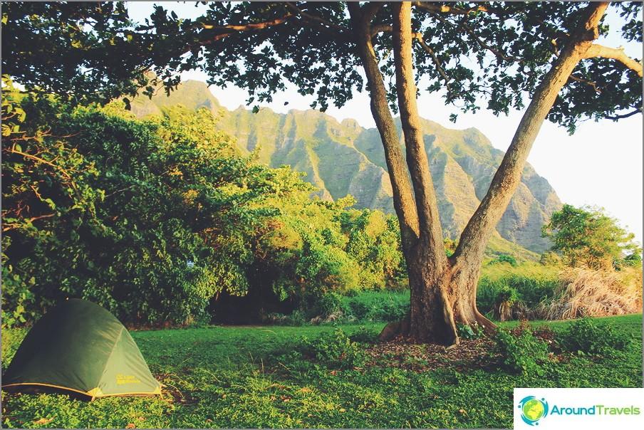 Teltassa Havaijilla, USA