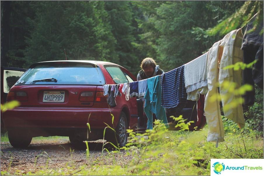 Kuivaamme vaatteita jossain Yhdysvaltojen suojatuissa metsissä