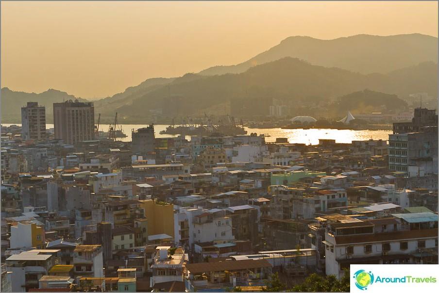 Portugalin Macao auringonlaskun aikaan