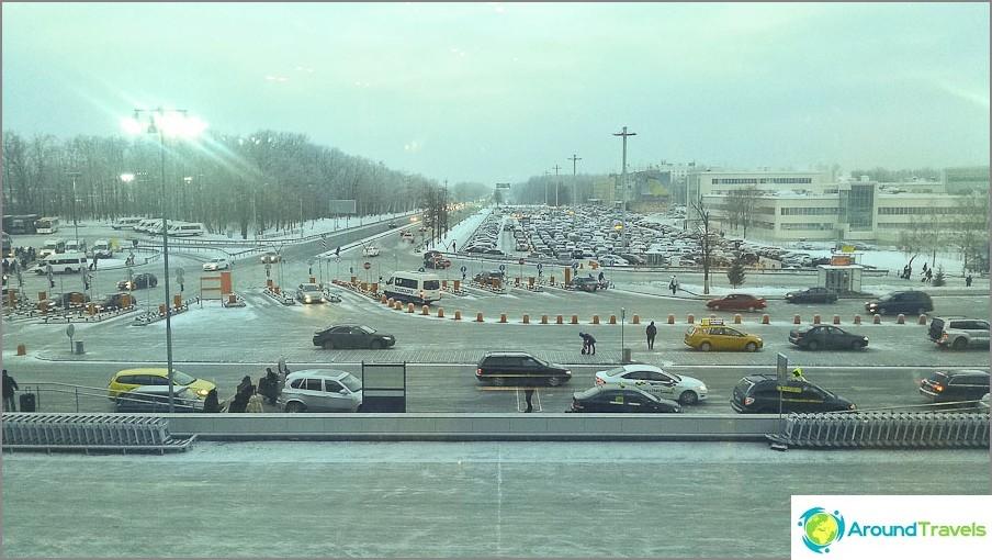 Näkymä Moskovan Domodedovon ikkunasta