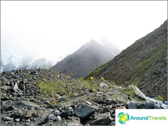 Altai-vuori. Keltaiset pisteet ovat meitä.