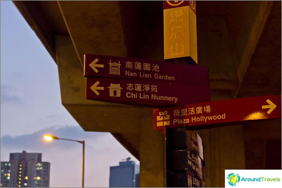 Kyltit lähellä metroa