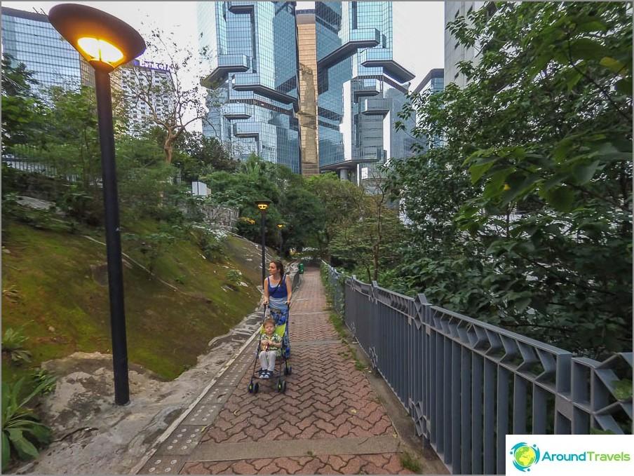 Menemme Hongkongin puistoon pyöreällä tiellä