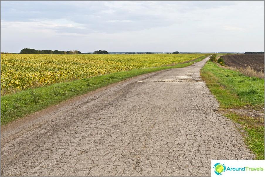 On outoa nähdä pala asfalttia peltojen ja pohjamaalien joukossa