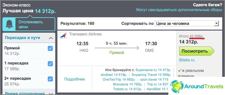 Hong Kong-Moskova-lento Skyscannerissa hintaan 429 dollaria