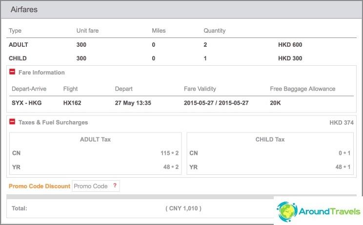 Sanya-Hong Kong -lento HongKong Airlines -sivustolla 8500r: lle