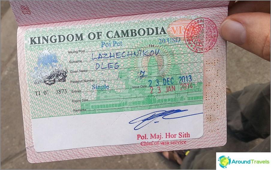 Venäläisten viisumi Kambodžaan