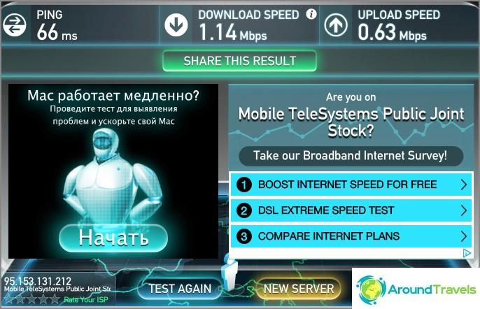 Wifi-nopeus ei ole kovin hyvä, mutta normaali surffausta varten