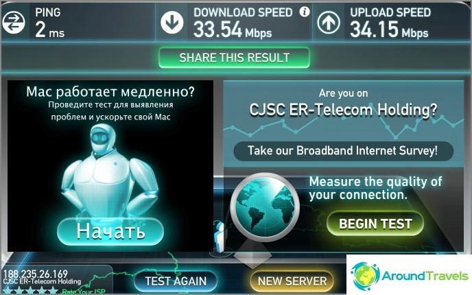 Mutta Internet-nopeus on erinomainen