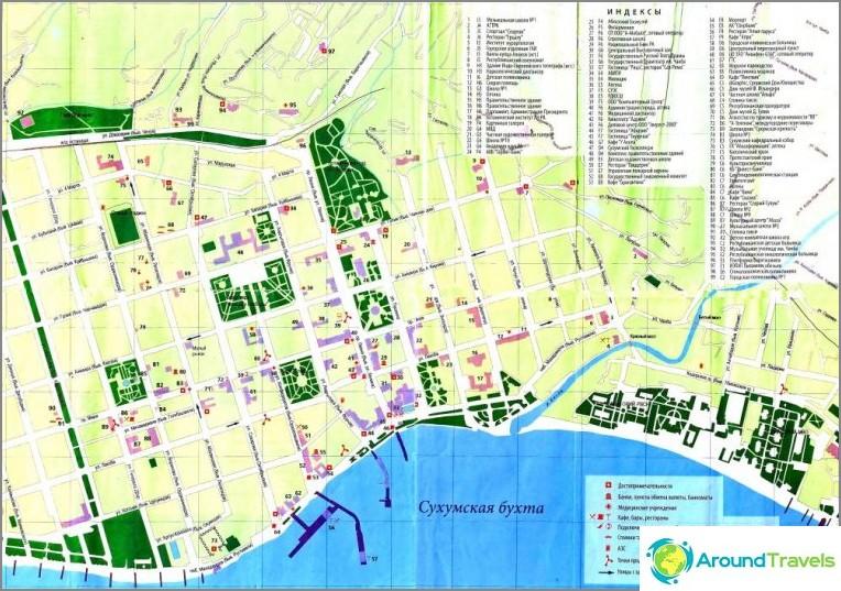 Kartta Sukhumin keskustasta. Abhasia