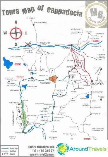 Карта на цялата Кападокия.