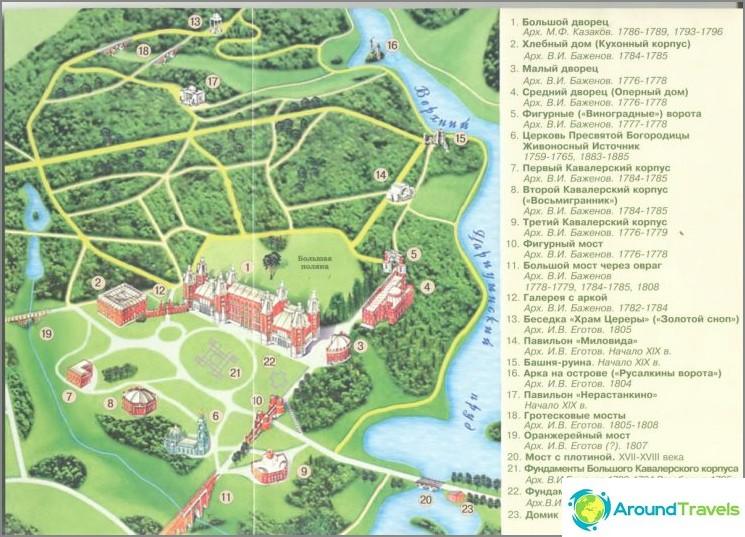 Tsaritsynon puiston kartta