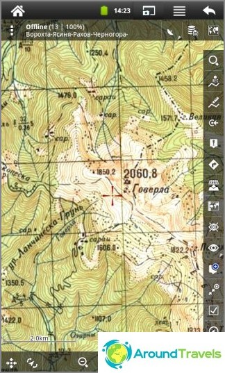 Karpaattien rasteroitu topografinen kartta Locus Map -ohjelmassa