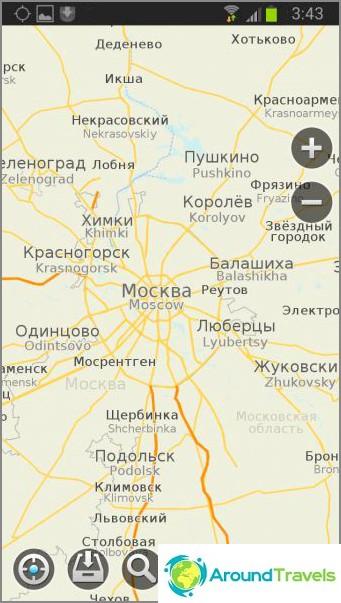 MapsWithMe -ohjelma. Vektorikartta Moskovan alueella