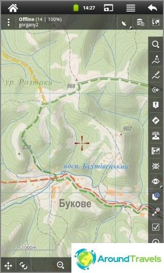 Locus Map -ohjelma. Karpaattien turistikartta