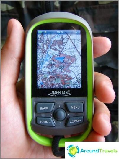 Navigaattorini on Magellan eXplorist GC. Ruudulla on topografinen kartta Kharkovin alueesta