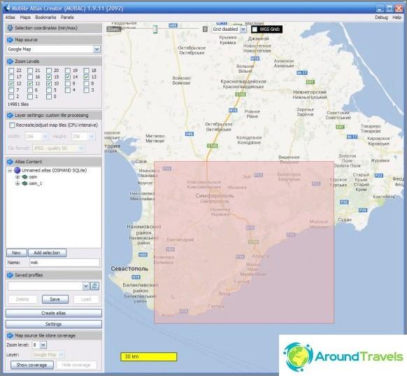 Mobile Atlas Creator -ohjelman käyttöliittymä