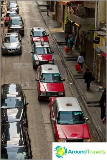 Kaupungissa on paljon takseja, malliautot ovat vanhoja Toyotaia
