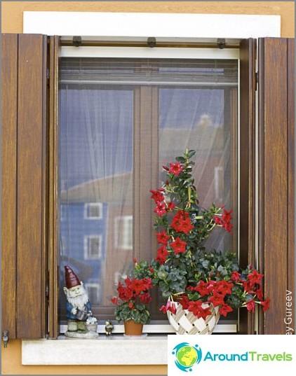 Talojen värikkäiden seinien lisäksi lumimyrskyt ilmenevät lukemattomina ulkomuotoina. Nämä gnomot ja kukat koristavat tavallista ikkunaa.