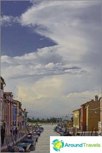 Kartan perusteella kaikki Burano-kanavat päättyvät (tai alkavat) Venetsian laguuniin.
