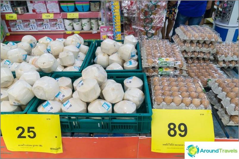 Kookospähkinät pala, munat 30 kappaletta