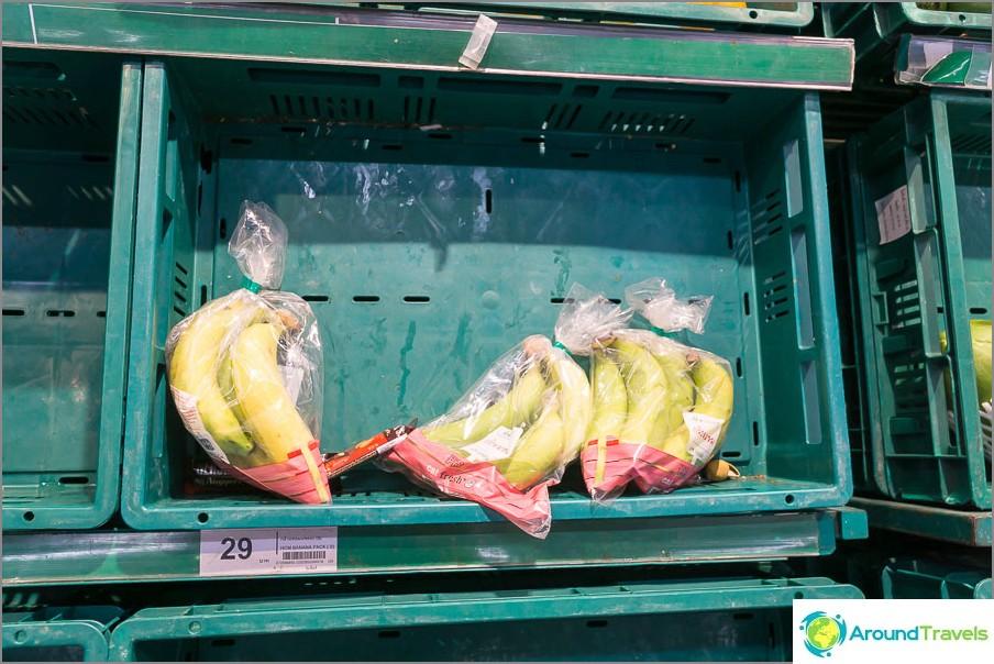 Banaanit 29 bahtia per nippu