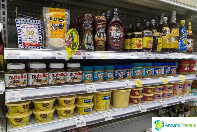 Siirapit, hunaja, nutela, maapähkinävoi, voi muovisäiliössä