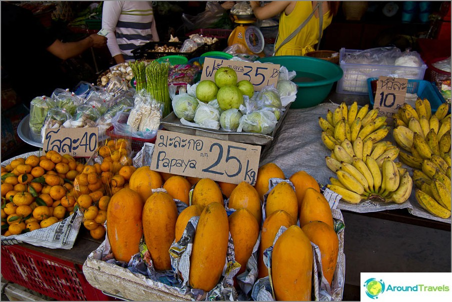 Koska Chiang Maissa oli papaijaa 25 bahtia kilogrammaa kohti, se pysyi