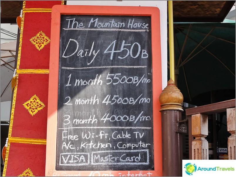 Pitkän matkan haltijalle hinta on 4000 kuukaudessa, matkustajalle 13500 bahtia
