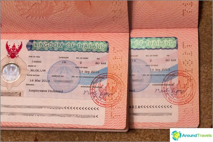 Tupla-Thaimaan viisumi Moskovassa