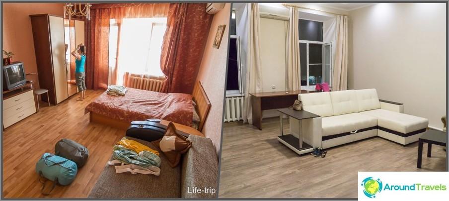 Asunnot, joissa yöpyimme Voronežissa ja Rostovissa