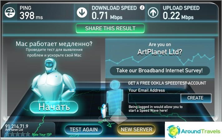 Kun VPN on käytössä, tämä nopeus on Kiinassa