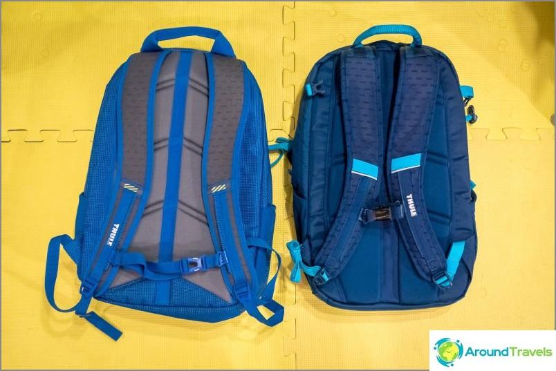 Katsaus Thule EnRoute Blur 2 -reppuista (oikealla) ja Thule Crossover -reppuista (vasen)